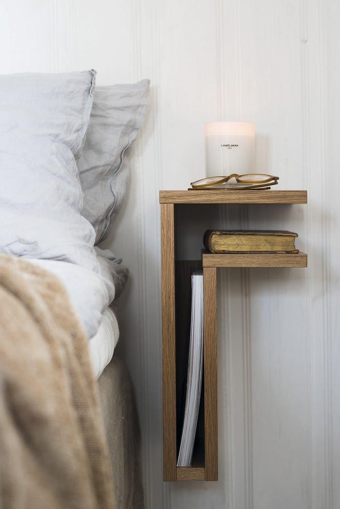 wooden floating L shaped shelves