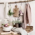 Wooden Hanging Rod, Metal Hooks, Wooden Table Top
