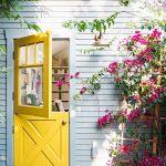 Yellow Wooden Door, Glass Half Top Door, White Shiplanks