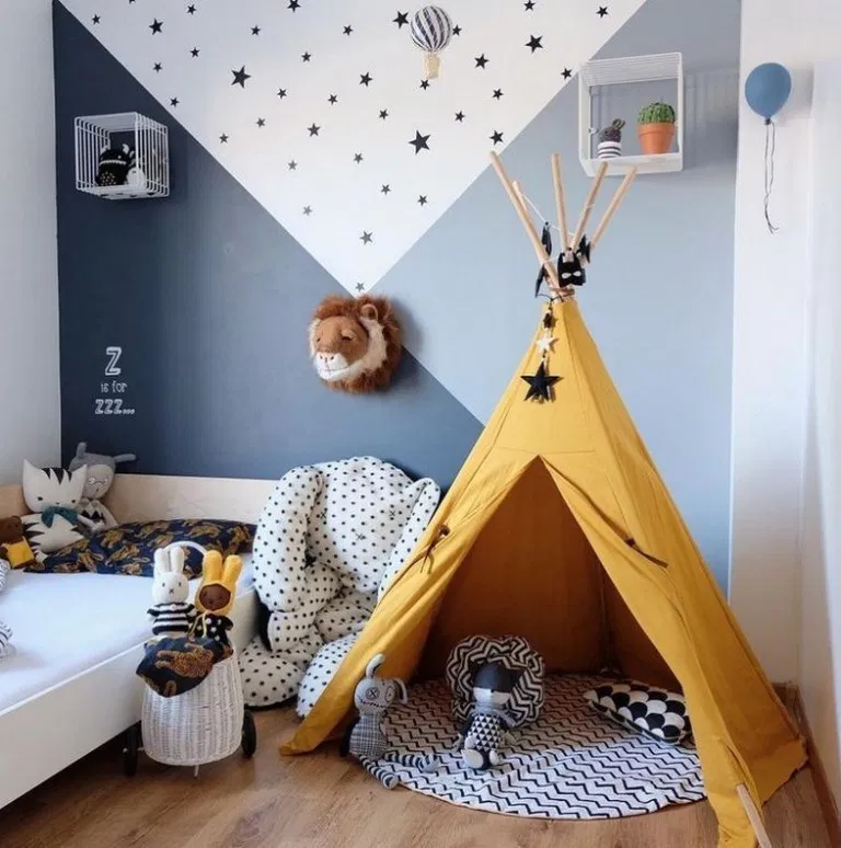 baby room, white wall, blue wall, yellow tent, white bed