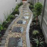 Back Yard, Stones, Black Granite, White Wall, Plants