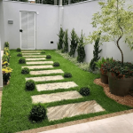 Backyard, Grass, Marble Steps, Plants, Stones, White Wall