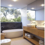 Bathroom, Cream Floor, White Wall, Mirror, Wooden Vanity Cable With White Sin, White Tub