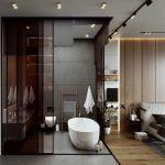 Bathroom, Grey Floor, Grey Wall, White Tub, White Floating Vanity, ,black Glass Wall