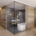 Bathroom, Grey Floor, Grey Wall, Wooden Floating Vanity, White Sinks, White Tub, Wooden Sliding Wall