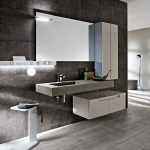 Bathroom, Grey Wall, Grey Floating Vanity, White Floating Cabinet, White Vertical Cabinet, Mirror