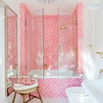 Bathroom, Pink Patterned Wall Tiles, White Wall, White Toilet, White Sink, Tall Long Mirror, Bamboo Stool