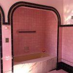 Bathroom, Pink Tub, Pink Wall Tiles, Pink Floor Tiles, Black Tiles