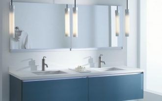 bathroom vanity, white wall, mirror, blue floating cabinet white top, pendants, white floor