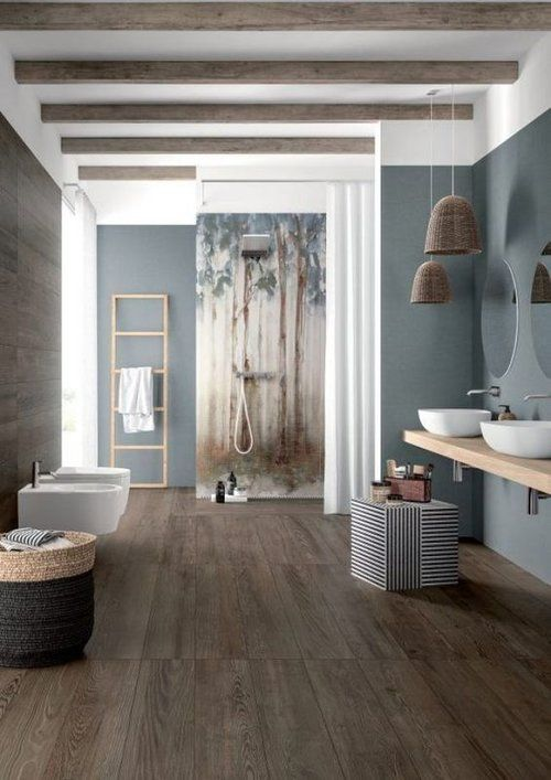 bathroom vanity, wooden floating vanity table, white sinks, white toilets, grey wall, rattan pendants