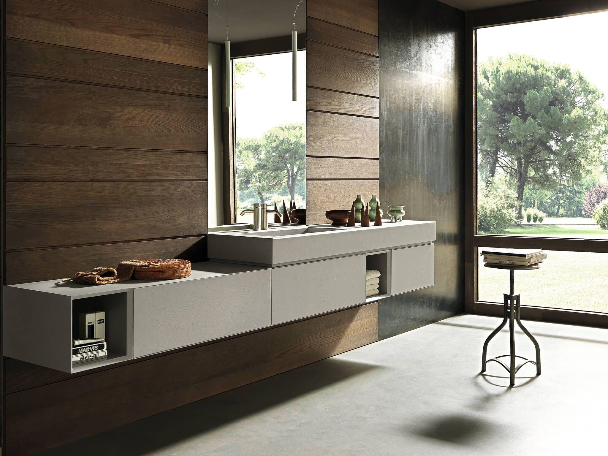 bathroom vanity, wooden wall, grey floating cabinet, grey floor, mirror