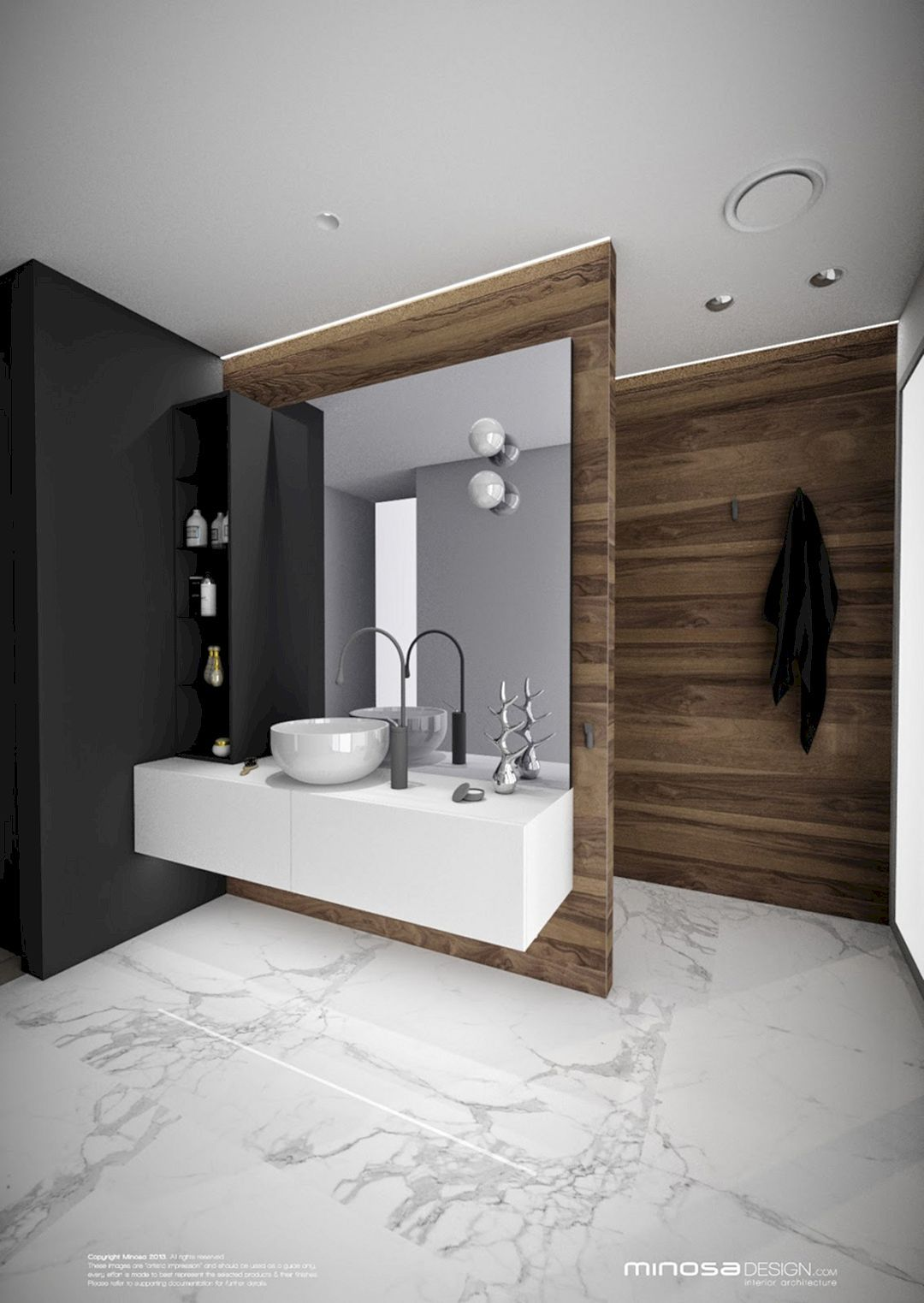 bathroom vanity, wooden wall, white floating cabinet, white bowl sink