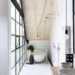 Bathroom, White Floor, White Wall, Shower Faucets, Bulb Pendant, White Tub, Wooden Vanity Table, Grey Sinks