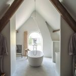 Bathroom, White Floor, White Wall, White Vaulted Ceiling, Wooden Beams, Arched Window