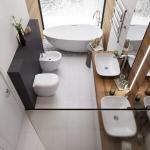 Bathroom, White Floor, White Wall, Wooen Accent Wall, Stones, White Tub, White Sink, White Toilet, Black Accent, Wooden Vanity Top, White Sink