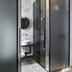Bathroom, White Marble Floor, White Marble Wall, Black Glass Wall