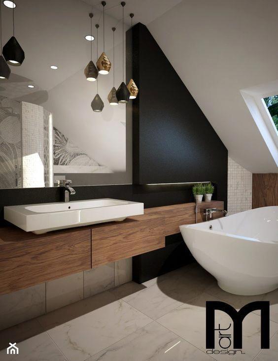 bathroom, white marble floor, wooden floating vanity, white sink, black wall, white vaulted ceiing, white tub, pendants