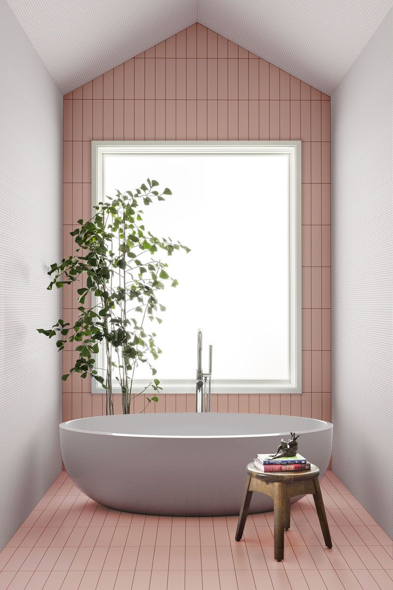 bathroom, white wall, pink subway floor tiles and wall, square large window, white tub