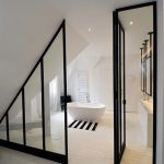 Bathroom, White Wooden Floor, White Tub, Glass Partition, White Vanity