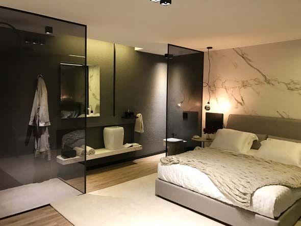 bathroom, wooden floor, gey wall, black glass partition, floating vanity, white sink,