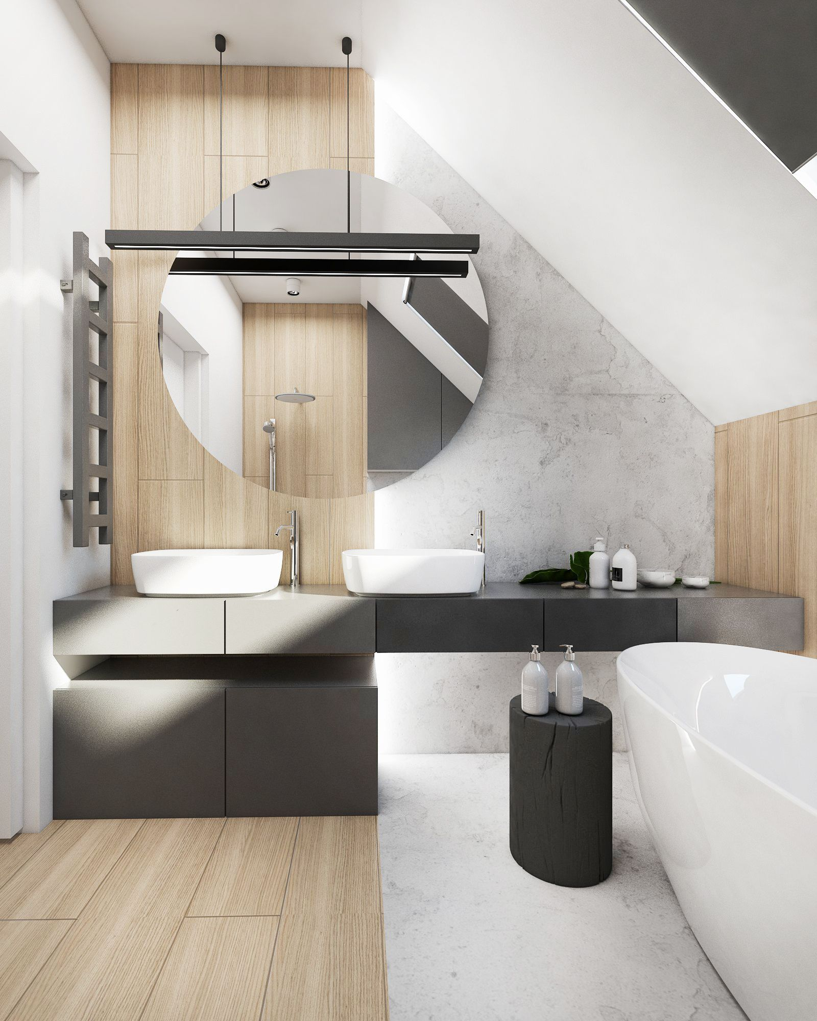 bathroom, wooden floor, white marble floor, white tub, black side table, white vaulted ceiling, wooden wall, wooden accent wall, black vanity, black cabinet, white sink