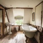 Bathroom, Wooden Floor, White Wall, White Tub