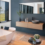 Bathroom, Wooden Floor, Wooden Floating Vanity, Black Accent Wall, White Wall, Grey Sink, Mirror, White Tub