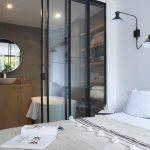 Bathroom, Wooden Shelves, White Tub, White Sink, Glass Sliding Door