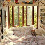 Bed Inside A Nook, Brown Wooden Framed Window