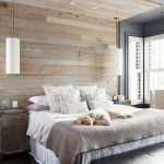 Bedroom, Black Floor, Wooden Accent Wall And Ceiling, Grey Wall Ceiling, White Bed, Wooden Side Cabinet, Black Bench
