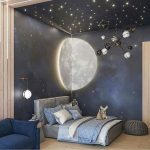 Bedroom, Blue Wall, Stars Ceiling, White Sconce, Grey Bed Platfor, Modern Chandelier