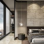 Bedroom, Brown Floor Tiles, Marble Wall Tiles, Large Glass Window, Clear Glass Round Pendant, Black Round Side Table