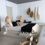 Bedroom, Grey Seamless Floor, White Wall, White Bedding, Rattan Pendants, Rattan Baskets