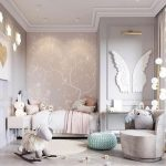 Bedroom, Grey Wainscoting, Wallpaper, White Wings, Green Ottoman, Bed, White Chair