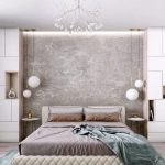 Bedroom, Grey Wall Nook, White Pendants, White Cabinet, Side Table, Chandelier
