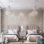 Bedroom, Grey Wall, Wallpaper, Chandeliers, Brown Headboard, Two Beds, Pink Blanket