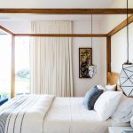 Bedroom, Rug, Wooden Bed Platform, White Pendants, White Curtain, White Side Cabinet