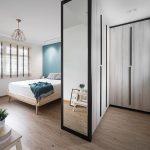 Bedroom, Wardrobe, Wooden Floor, White Wall, Wooden Bed Platform, Blue Accent Wall, Pendant