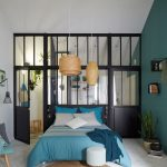 Bedroom, White Floor, White Vaulted Ceiling, Green Wall, Blue Bed, Rattan Pendant, Black Framed Partition With Glass