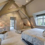 Bedroom, White Vaulted Ceiling, Bed, White Make Up Table, Bench, Glass Window