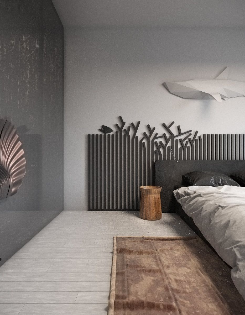bedroom, white wooden floor, black wall, white wall, black grid headboard, black headboard, wooden side table