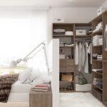 Bedroom, White Wooden Floor, White Rug, Wooden Shelves, White Partition, Wooden Side Table, White Sconces