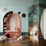 Bedroom, Wooden Floor, Blue Wall, Pink Nook With Curve, Bookshelves On The Right, Pink Patterned Rug White Bed