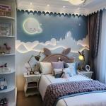 Bedroom, Wooden Floor, Blue White Wallpaper, White Shelves, White Accent Ceiling