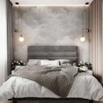 Bedroom, Wooden Floor, Grey Accent Wall, Wooden Grid ,pendants, Grey Headboard