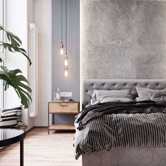 bedroom, wooden floor, grey wall, grey headboard, pendants