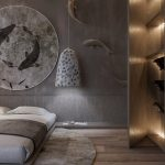 Bedroom, Wooden Floor, Grey Wall, Wooden Wall, White Pendants, Wooden Bed Platform