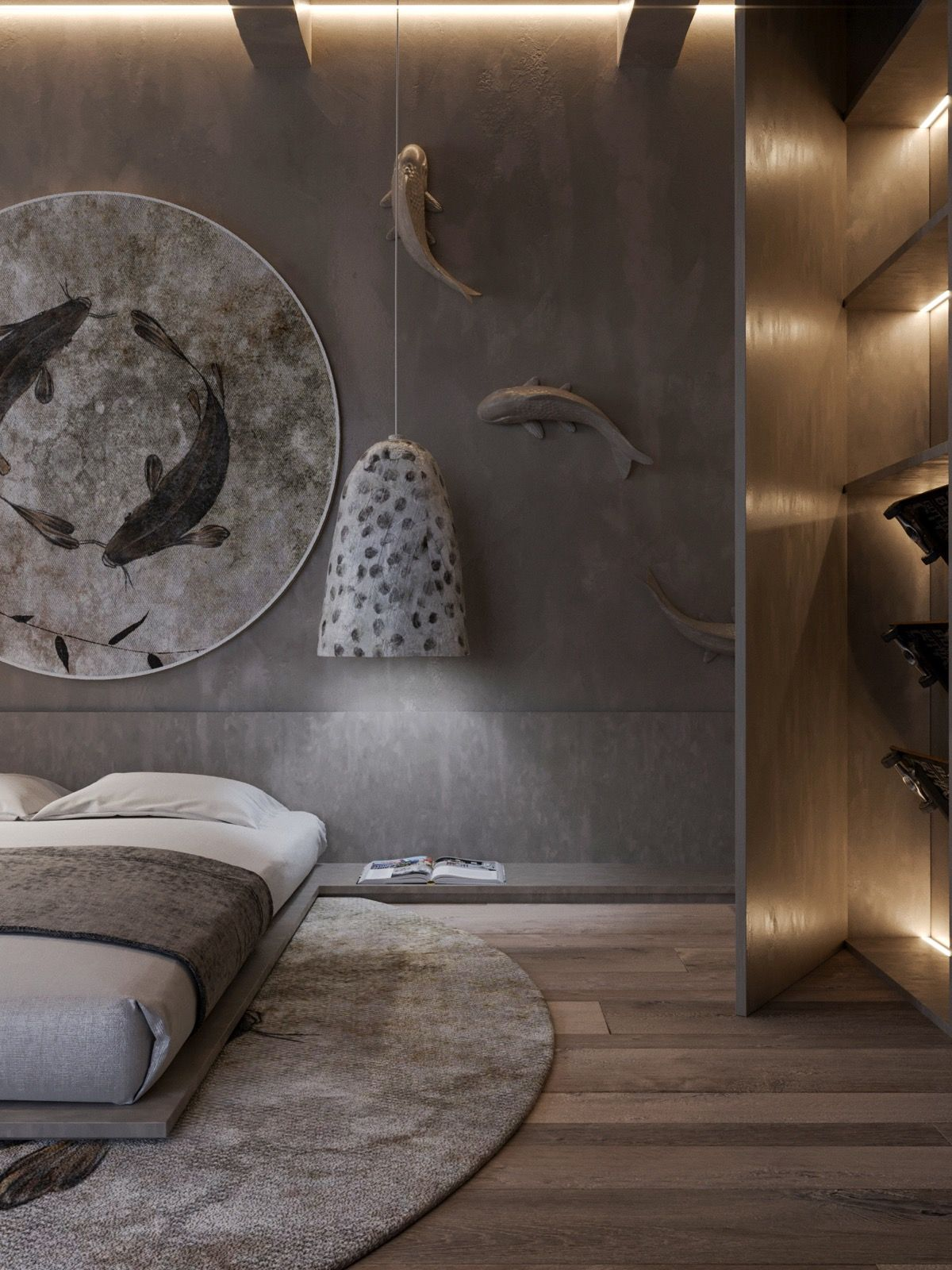 bedroom, wooden floor, grey wall, wooden wall, white pendants, wooden bed platform