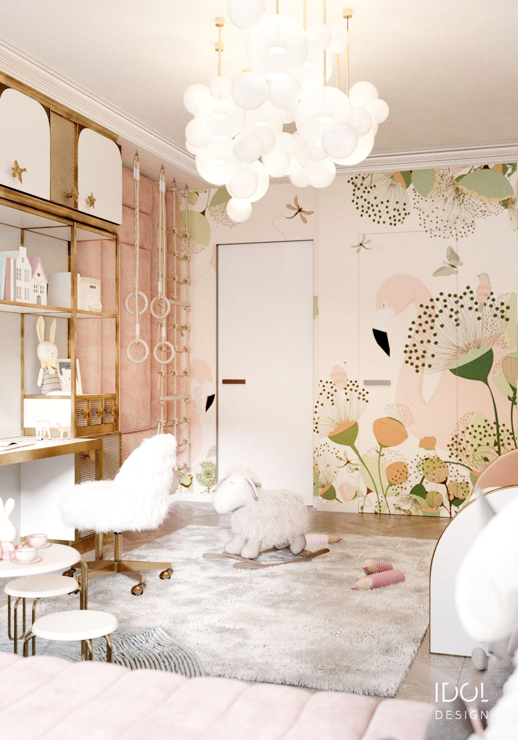 bedroom, wooden floor, wallpaper, golden table compact, white balloons pendants, white round table,