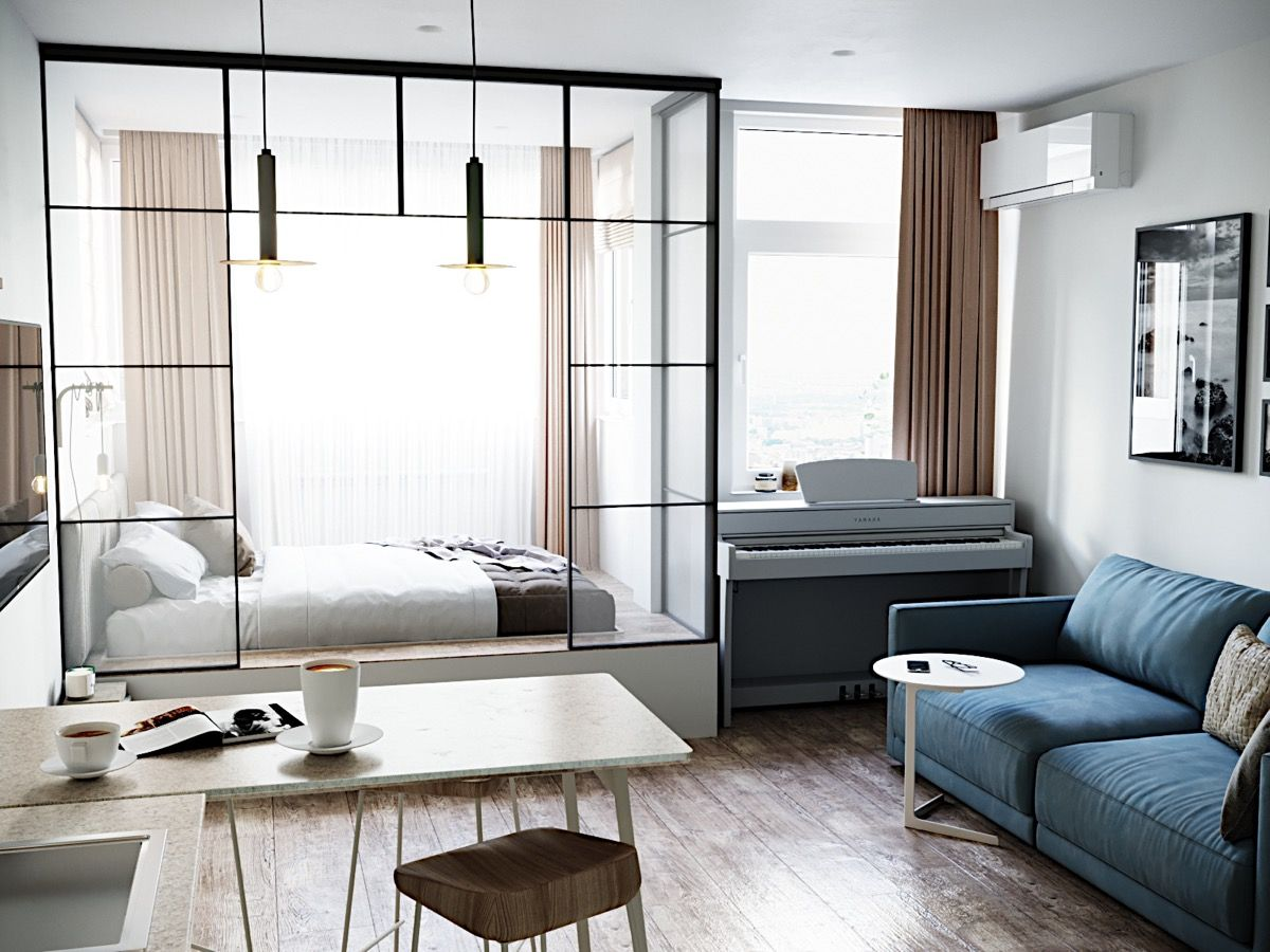 bedroom, wooden floor, white wall, blue sofa, white stage, glass partition, wooden table, pendants, piano